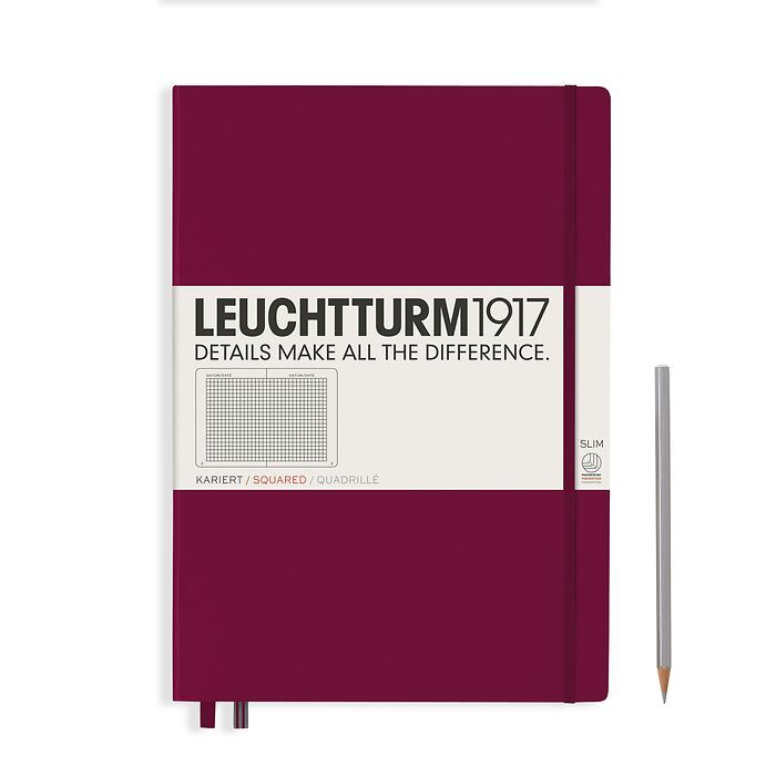 Notebook Master Slim (A4+), Hardcover, 123 numbered pages, Port Red, squared