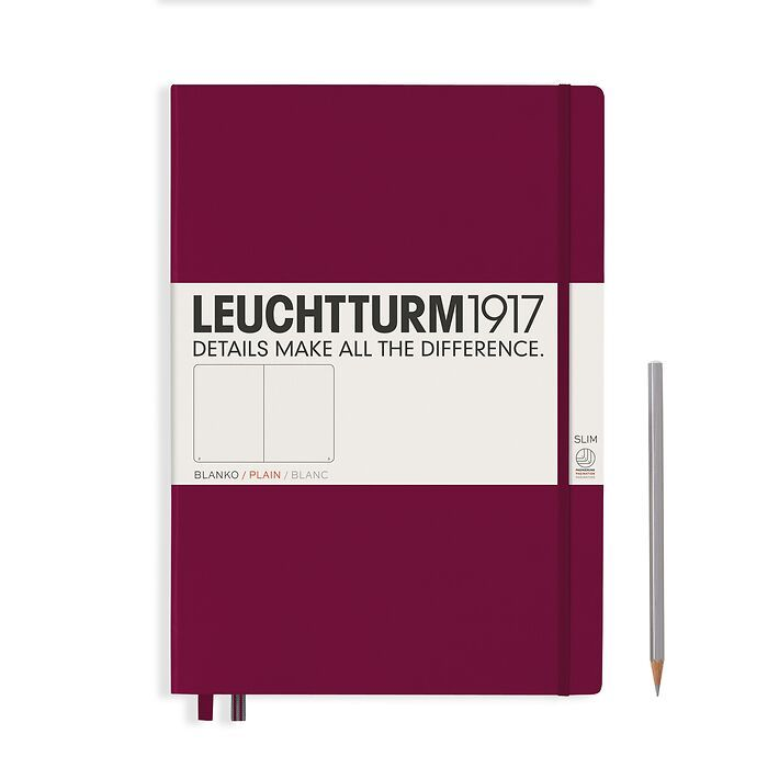 Notebook Master Slim (A4+), Hardcover, 123 numbered pages, Port Red, plain