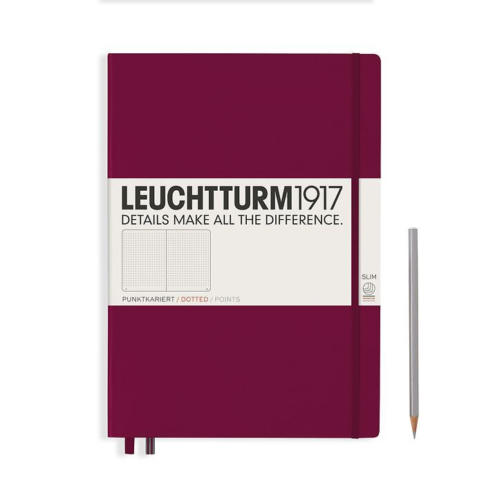 Notebook Master Slim (A4+), Hardcover, 123 numbered pages, Port Red, dotted