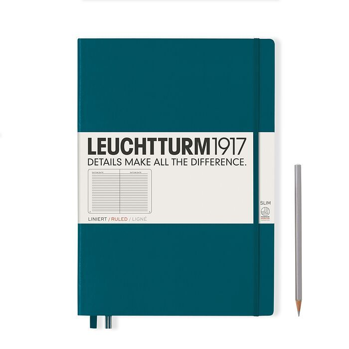 Notebook Master Slim (A4+), Hardcover, 123 numbered pages, Pacific Green, ruled