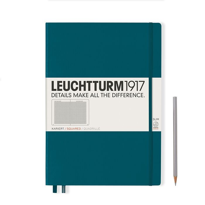 Notebook Master Slim (A4+), Hardcover, 123 numbered pages, Pacific Green, squared