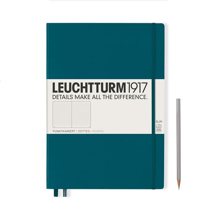 Notebook Master Slim (A4+), Hardcover, 123 numbered pages, Pacific Green, dotted