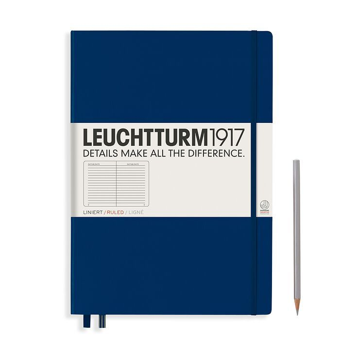 Notebook Master Classic (A4+), Hardcover, 233 numbered pages, Navy, ruled