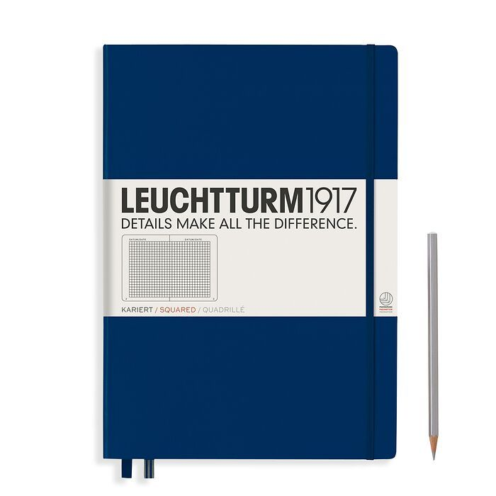 Notebook Master Classic (A4+), Hardcover, 233 numbered pages, Navy, squared