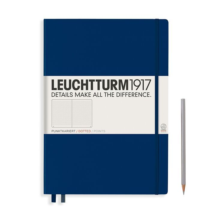 Notebook Master Classic (A4+), Hardcover, 233 numbered pages, Navy, dotted
