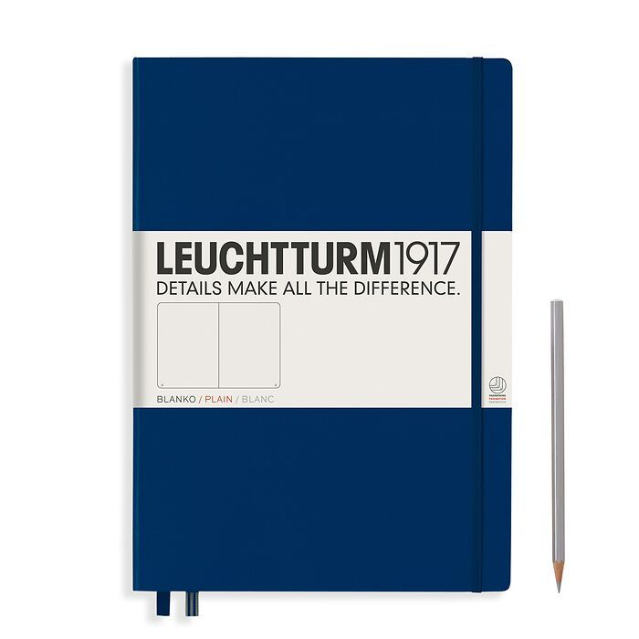 Notebook Master Classic (A4+), Hardcover, 233 numbered pages, Navy, plain