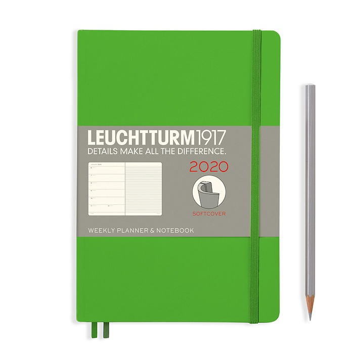 Weekly Planner & Notebook Medium (A5) 2020, Softcover, Fresh Green, English