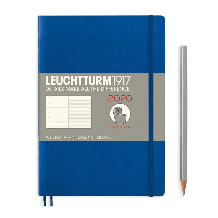 Weekly Planner & Notebook Medium (A5) 2020, Softcover, Royal Blue, English