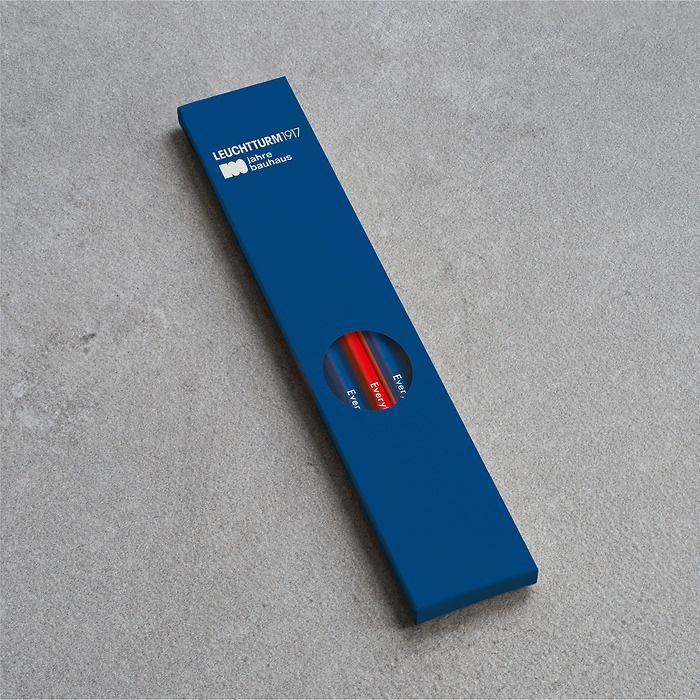 Pencil HB, LEUCHTTURM1917, assorted, 100 Jahre Bauhaus: 4x Royal Blue, 1x Red