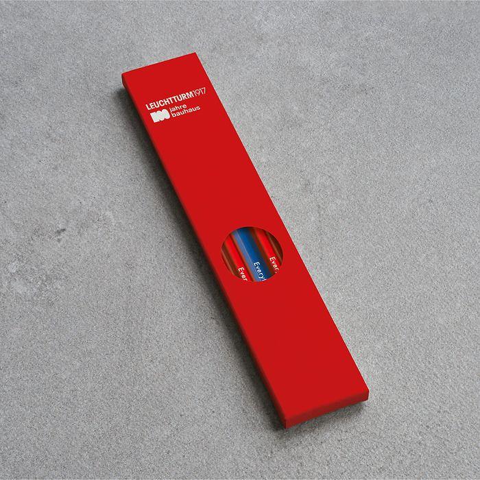 Pencil HB, LEUCHTTURM1917, assorted, 100 Jahre Bauhaus: 4x Red, 1x Royal Blue