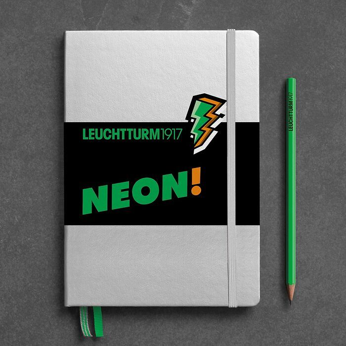 Notebook Medium (A5), Hardcover, 251 numbered pages, Silver & Neon Green, dotted