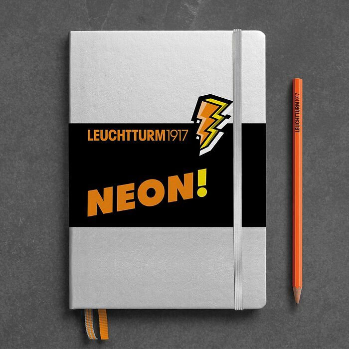 Notebook Medium (A5), Hardcover, 251 numbered pages, Silver & Neon Orange, dotted