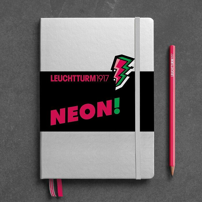 Notebook Medium (A5), Hardcover, 251 numbered pages, Silver & Neon Pink, dotted