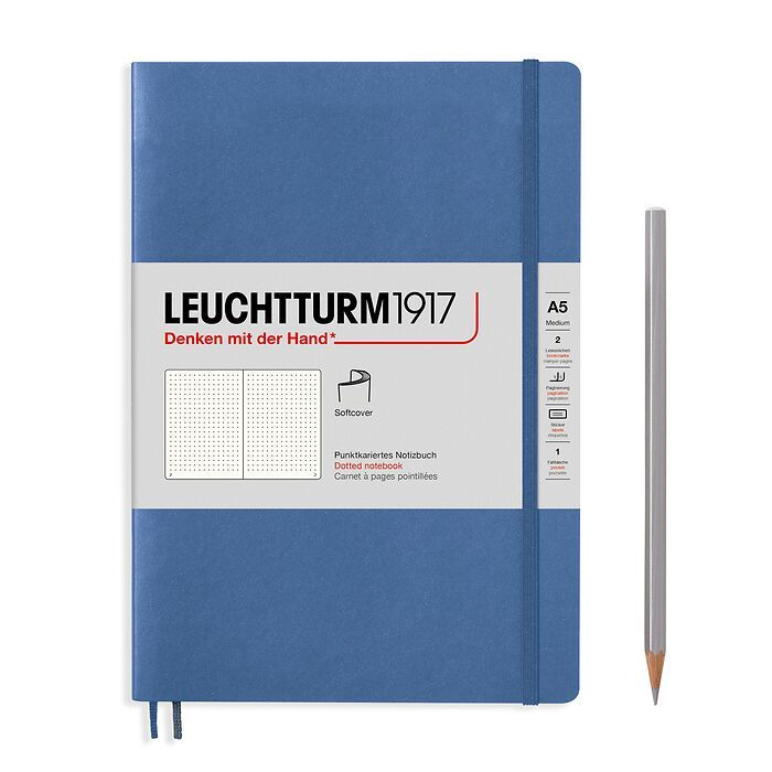 Notebook Medium (A5), Softcover, 123 numbered pages, Denim,  dotted
