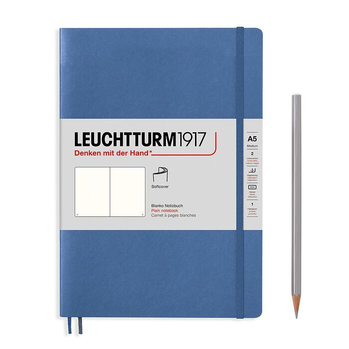 Notebook Medium (A5), Softcover, 123 numbered pages, Denim,  plain