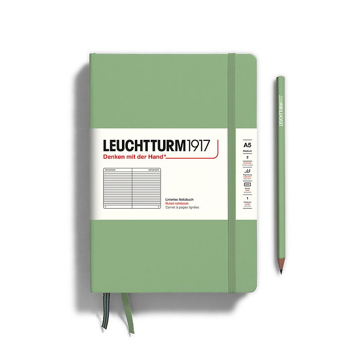 Notebook Medium (A5), Hardcover, 251 numbered pages, Sage, ruled