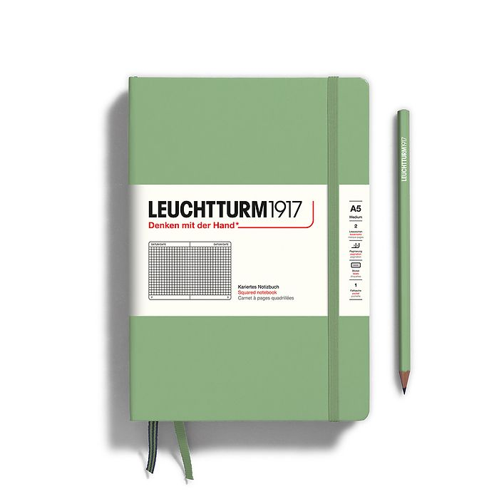 Notebook Medium (A5), Hardcover, 251 numbered pages, Sage, squared