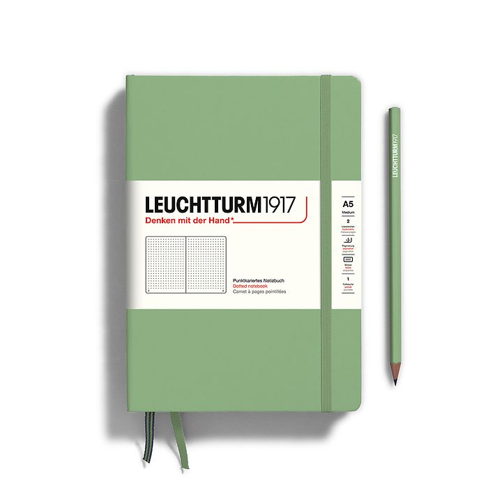 Notebook Medium (A5), Hardcover, 251 numbered pages, Sage, dotted