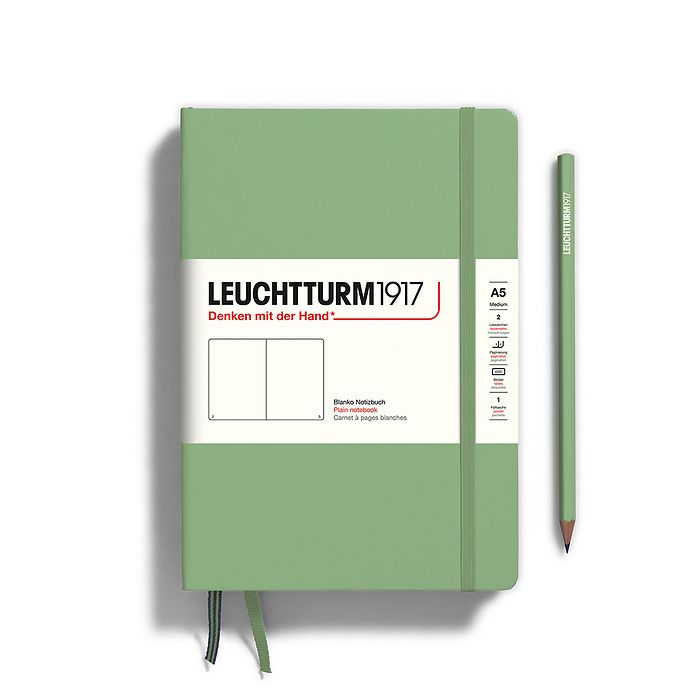 Notebook Medium (A5), Hardcover, 251 numbered pages, Sage, plain