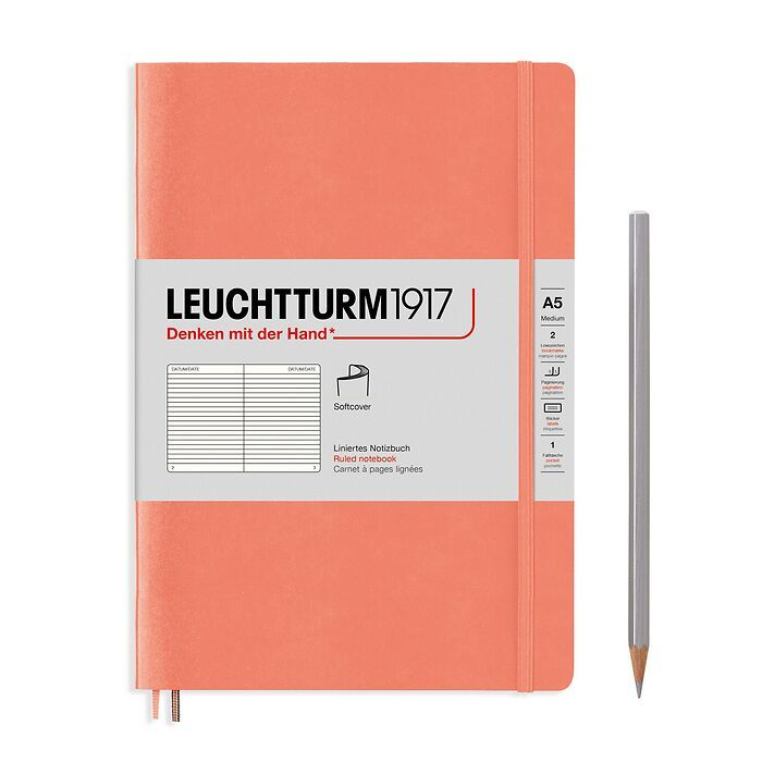 Notebook Medium (A5), Softcover, 123 numbered pages, Bellini, ruled