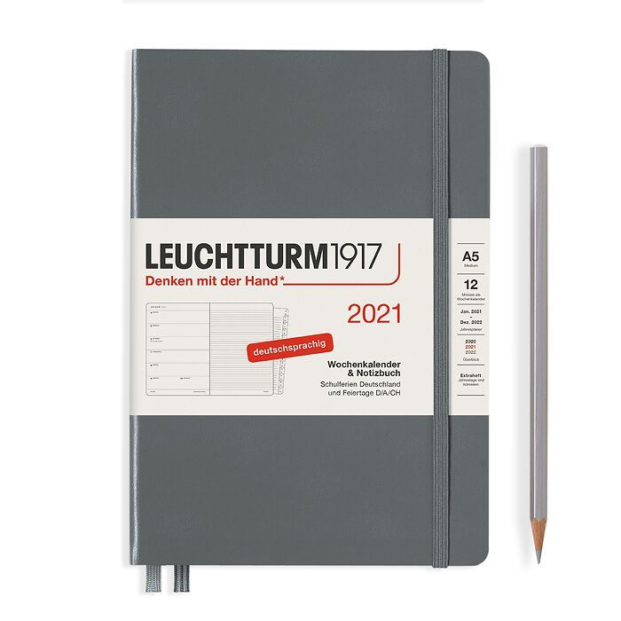 Weekly Planner & Notebook Medium (A5) 2021, with booklet, Anthracite, German
