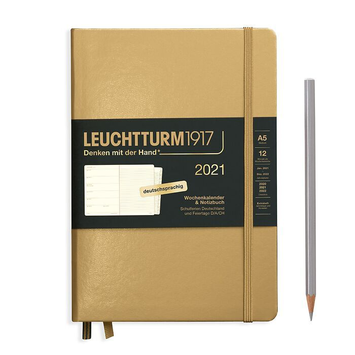 Weekly Planner & Notebook Medium (A5) 2021, with booklet, Gold, German