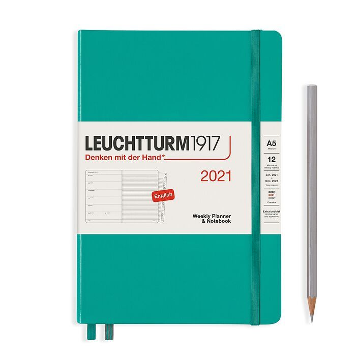 Weekly Planner & Notebook Medium (A5) 2021, with booklet, Emerald, English