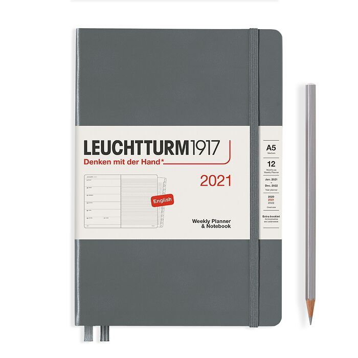 Weekly Planner & Notebook Medium (A5) 2021, with booklet, Anthracite, English