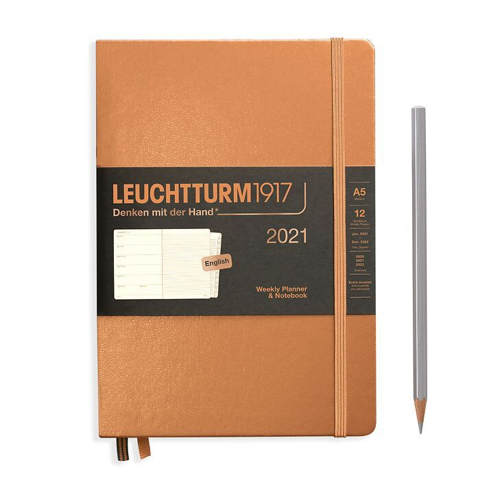 Weekly Planner & Notebook Medium (A5) 2021, with booklet, Copper, English