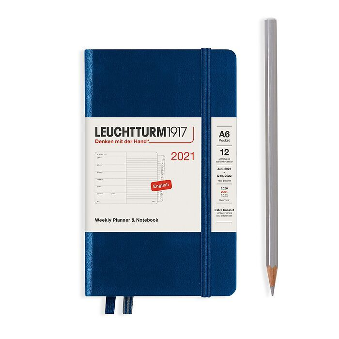 Weekly Planner & Notebook Pocket (A6) 2021, with booklet, Navy, English