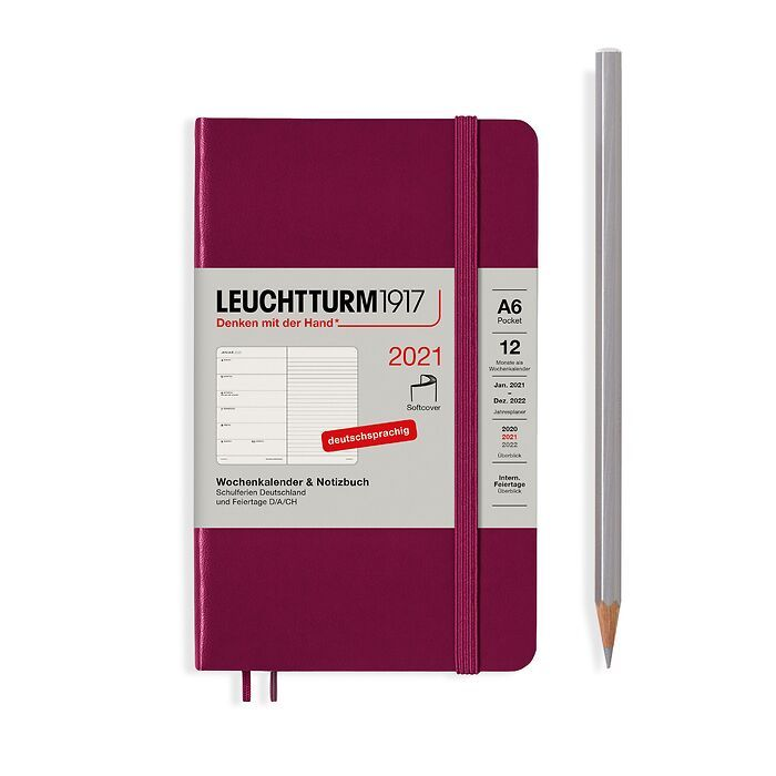 Weekly Planner & Notebook Pocket (A6) 2021, Softcover, Port  Red, German