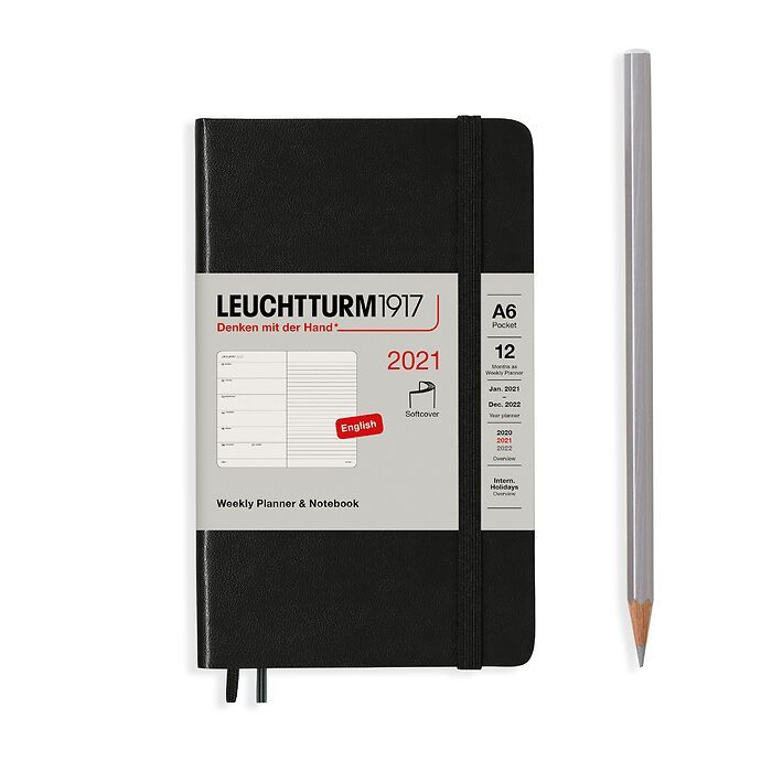 Weekly Planner & Notebook Pocket (A6) 2021, Softcover, Black, English