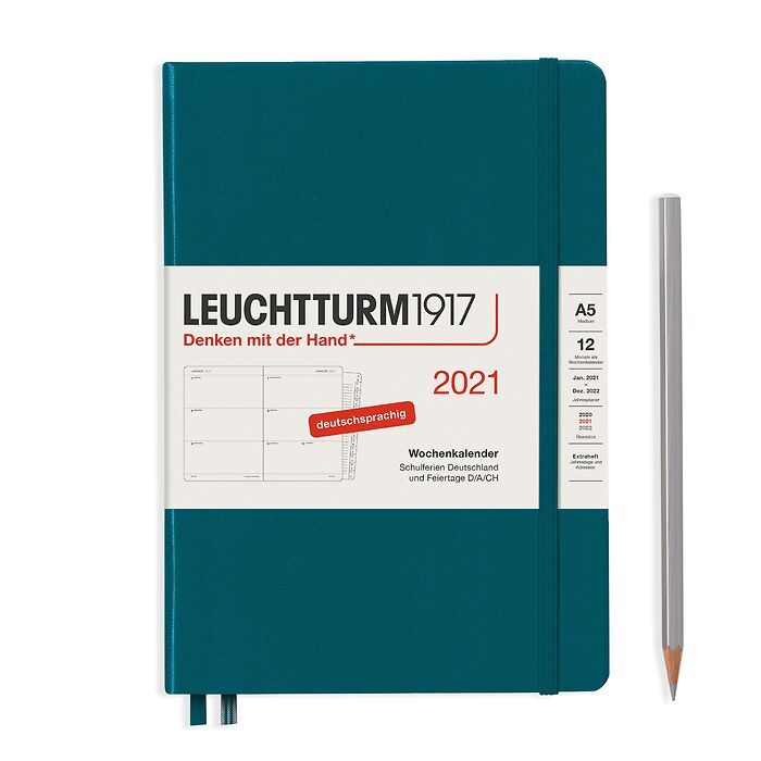 Weekly Planner Medium (A5) 2021, with booklet, Pacific Green, German
