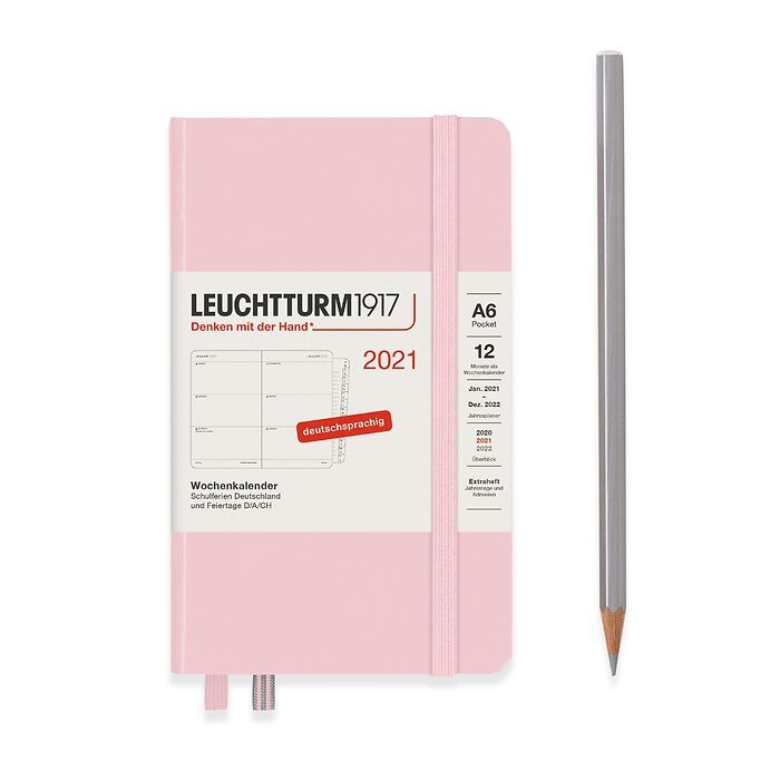 Weekly Planner Pocket (A6) 2021, with booklet, Powder, German