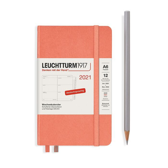 Weekly Planner Pocket (A6) 2021, with booklet, Bellini, German