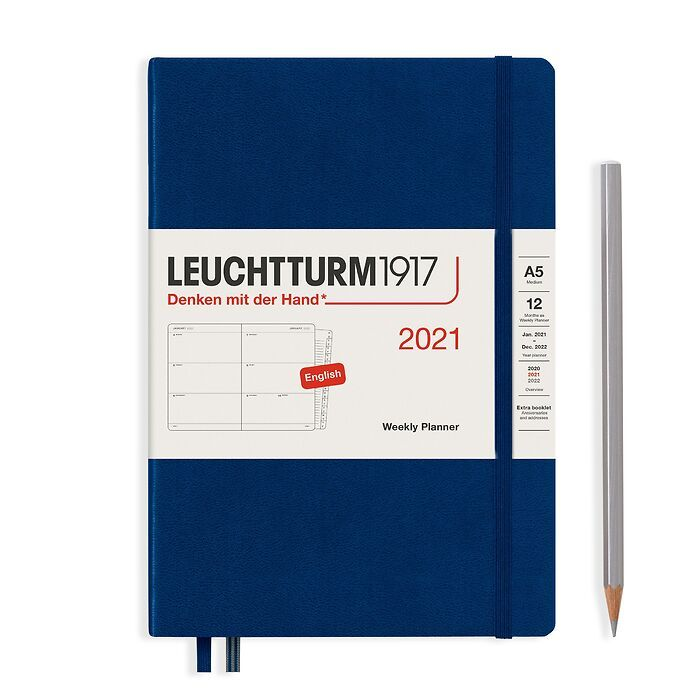 Weekly Planner Medium (A5) 2021, with booklet, Navy, English