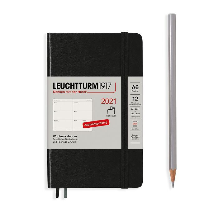 Weekly Planner Pocket (A6) 2021, Softcover, Black, German