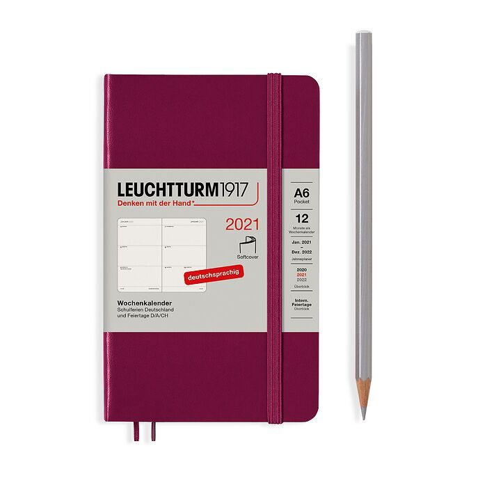 Weekly Planner Pocket (A6) 2021, Softcover, Port Red, German