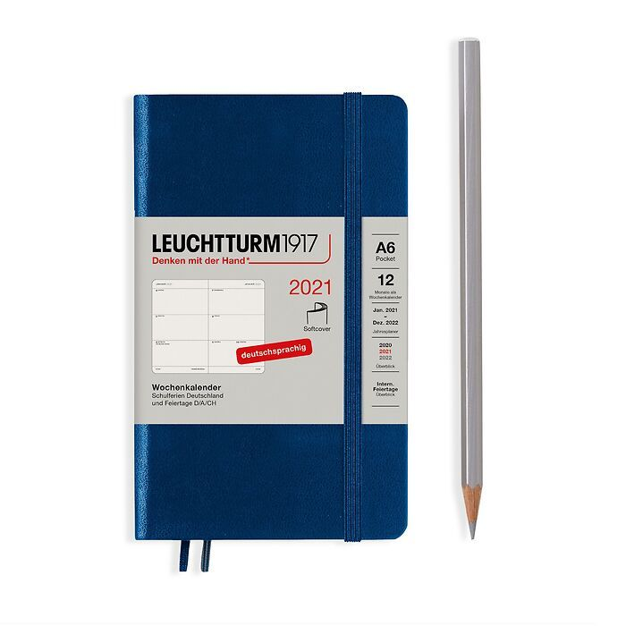 Weekly Planner Pocket (A6) 2021, Softcover, Navy, German