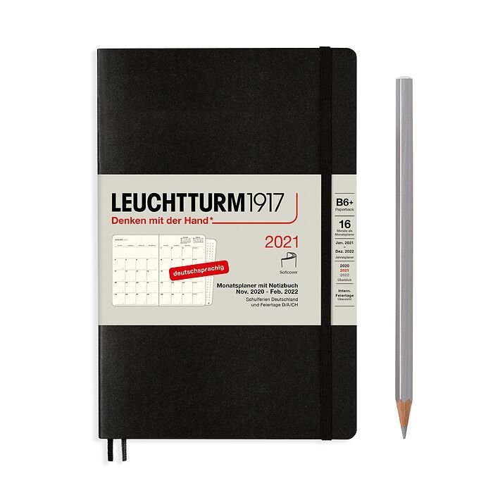Monthly Planner & Notebook Paperback (B6+) 2021, 16 Months,  Softcover, Black, German