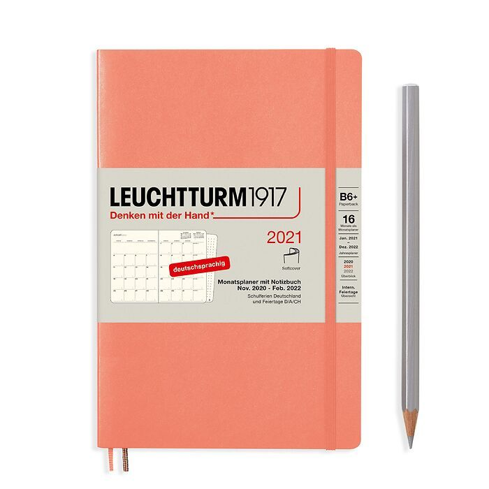 Monthly Planner & Notebook Paperback (B6+) 2021, 16 Months,  Softcover, Bellini, German