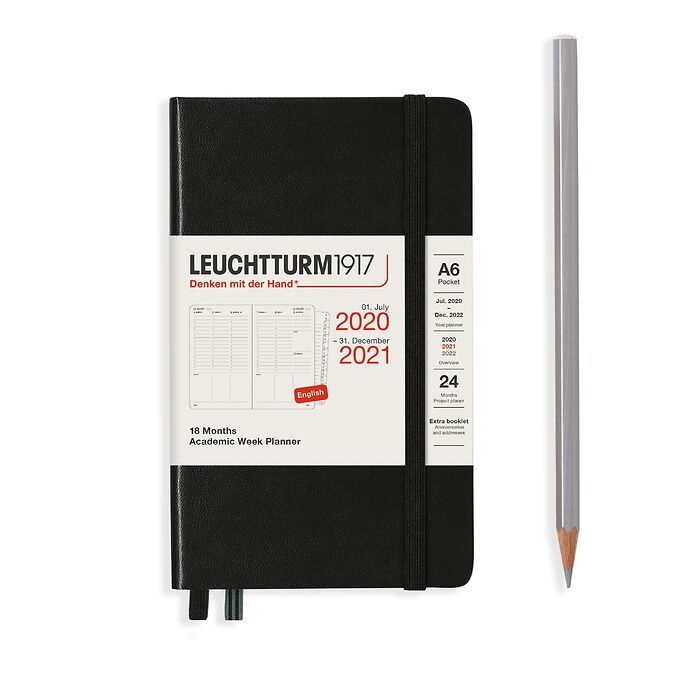 Academic Week Planner Pocket (A6) 2021, with booklet, 18 Months, Black, English