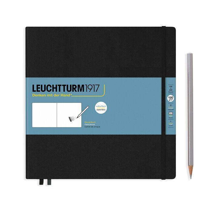 Sketchbook Square (225 x 225 mm), Hardcover, 112 pages (150 g/sqm), plain, Black