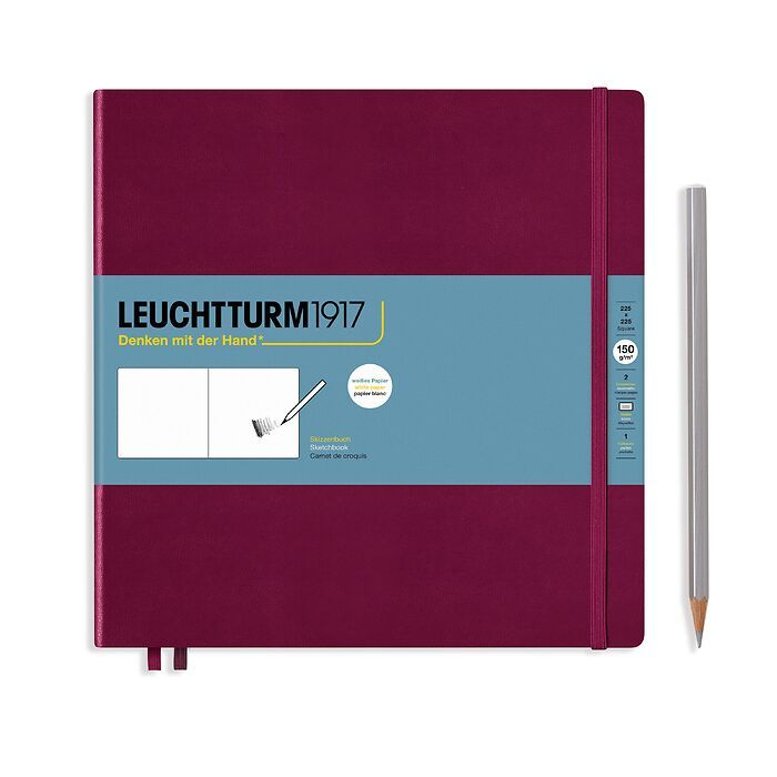 Sketchbook Square (225 x 225 mm), Hardcover, 112 pages (150 g/sqm), plain, Port Red