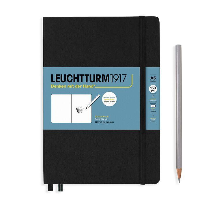 Sketchbook Medium (A5), Hardcover, 112 pages (150 g/sqm), plain, Black