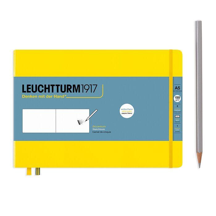 Sketchbook Landscape (A5), Hardcover, 112 pages (150 g/sqm), plain, Lemon