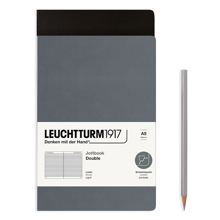 Jottbook (A5), 59 numbered pages, ruled, Black and Anthracite, Pack of 2