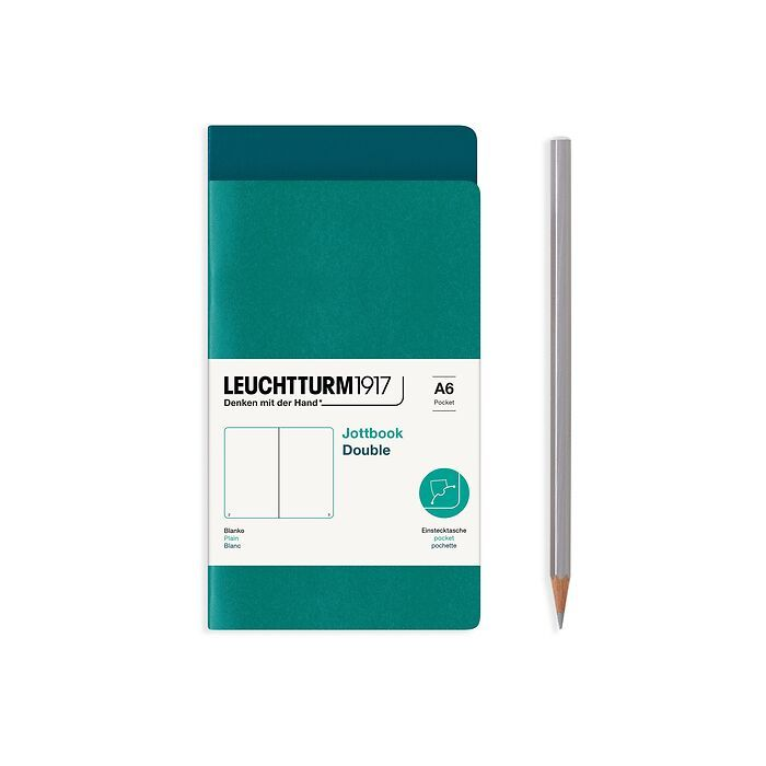 Jottbook (A6), 59 numbered pages, plain, Pacific Green and Emerald, Pack of 2