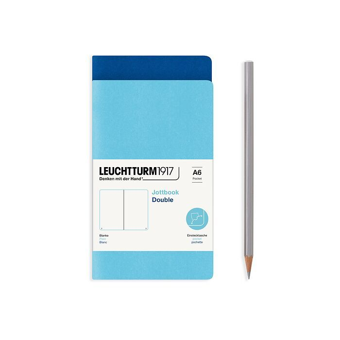 Jottbook (A6), 59 numbered pages, plain, Royal Blue and Ice Blue, Pack of 2