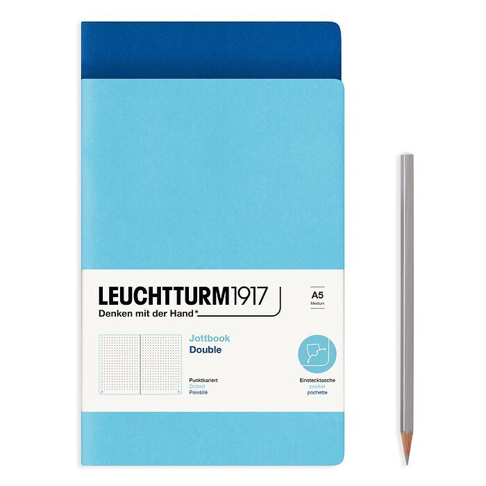 Jottbook (A5), 59 pages numérotées, pointillé, Bleu Royale et Ice Blue, Set de 2